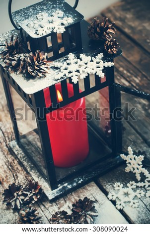 Christmas Lantern with Red Candle and Decorated Snow Flakes #308090024