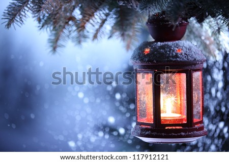 Christmas lantern with snowfall,Closeup. #117912121