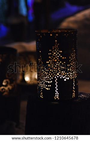 Christmas lantern with trees.  #1210645678