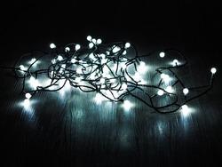 Christmas led lights. Led lights string on the floor