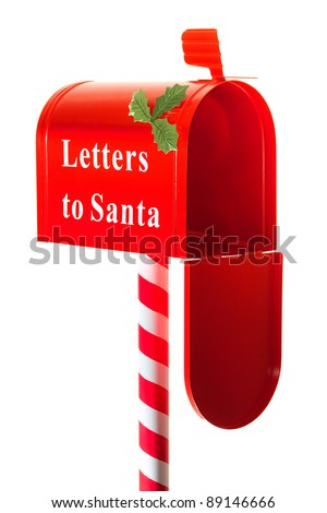 Christmas letter box to Santa isolated on white