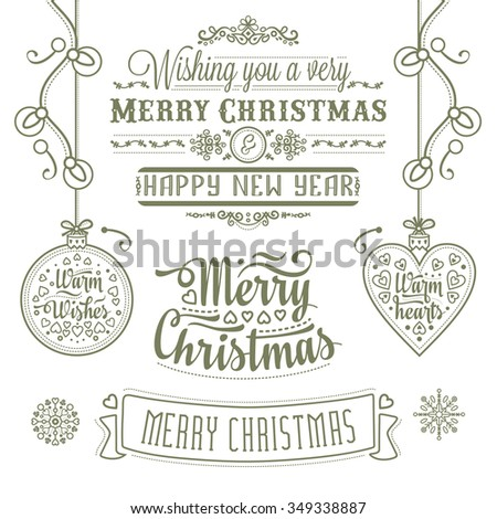 Christmas Lettering Design Set. Decorative elements for winter holidays. Vintage Christmas Background With Typography. Monochrome. Best for greeting cards, invitations. Raster illustration.  #349338887