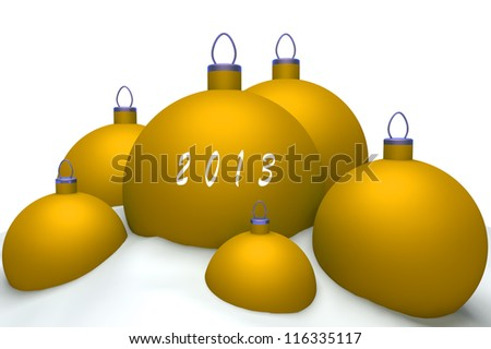 Christmas lgold balls with mark 2013 in snow isolated on white background 3d concept