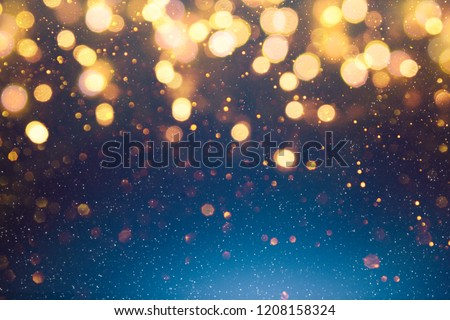 Christmas light background.  Holiday glowing backdrop. Defocused Background With Blinking Stars. Blurred Bokeh. #1208158324