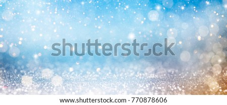 Christmas light background.  Holiday glowing backdrop. Defocused Background With Blinking Stars. Blurred Bokeh. #770878606