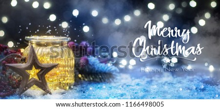 Christmas lighting in the jar, Christmas and New Year holidays background, winter season.  #1166498005