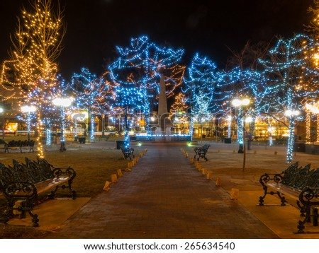 Christmas lights and decorations on historic Santa Plaza in New Mexico #265634540