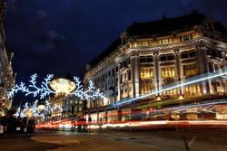 Christmas lights at Oxford Circus in London at night