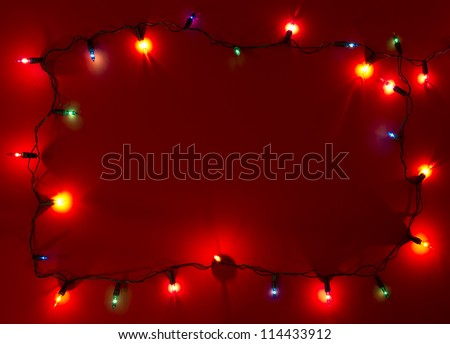 Christmas lights frame with copy space