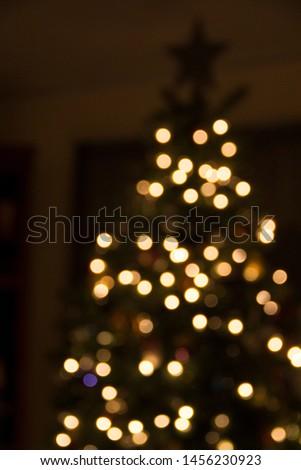 Christmas lights glistening in the night