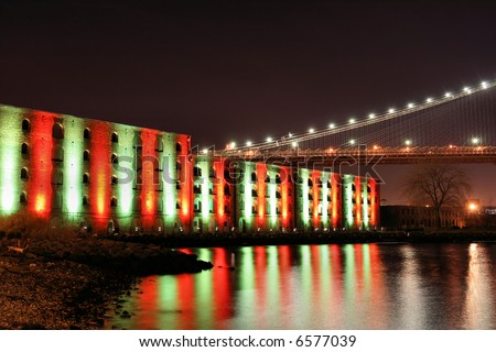Christmas Lights in New York City and Brooklyn Bridge