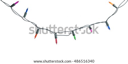 Christmas lights isolated on white background #486516340