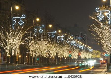 Christmas lights on a row of trees, Budapest, Hungary - stock photo