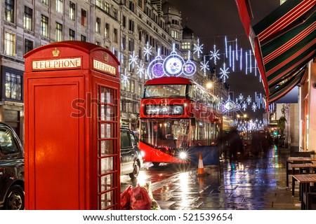 stock photo christmas lights on london street england 521539654 - Каталог — Фотообои «Улицы, переулки»