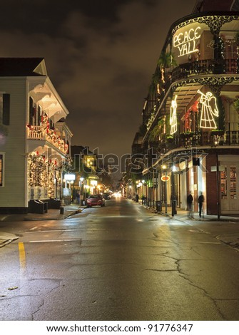 Christmas Lights on the corner of Royal and Dumaine Streets in the French Quarter of New Orleans, Louisiana
