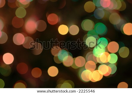 Christmas lights out of focus.