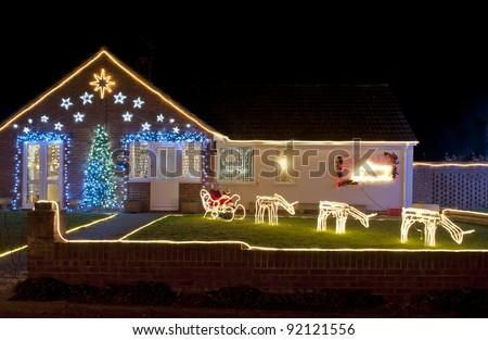 Christmas Lights outside on a House - stock photo