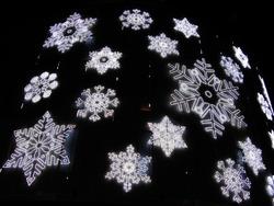 Christmas lights simulating frozen snowflakes. Barcelona street detail