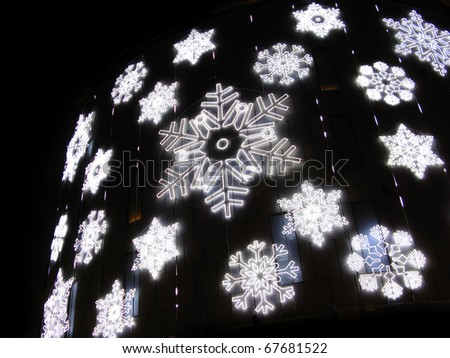 Christmas lights simulating frozen snowflakes. Barcelona street detail