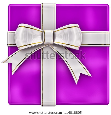 Christmas lilac gift with white ribbon and bow on white background