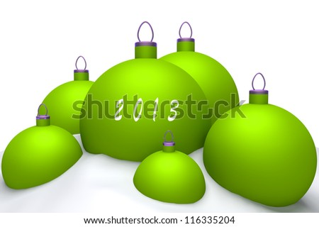 Christmas lime balls with mark 2013 in snow isolated on white background 3d concept