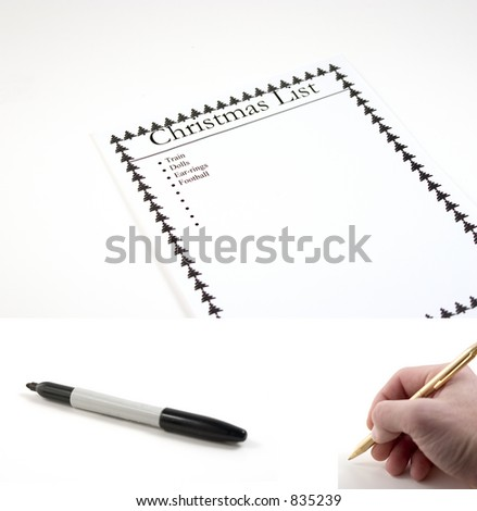 Christmas List Paper - hand with pen and marker included separately.  Feeback Paper dimension 3072x2048... Hand with pen dimension 1000x990, Marker dimension 1700x760