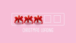 Christmas loading bar with cute gift boxes on pink background. Top view, flat lay composition. New year is coming