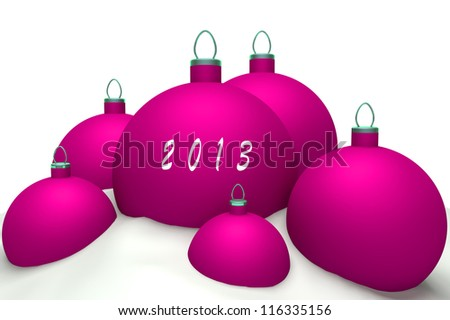 Christmas magenta balls with mark 2013 in snow isolated on white background 3d concept