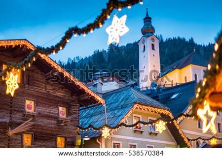 Christmas market at Grossarl mountain village, Salzburg, Austria