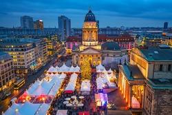 Christmas market, Deutscher Dom and konzerthaus in Berlin, Germany