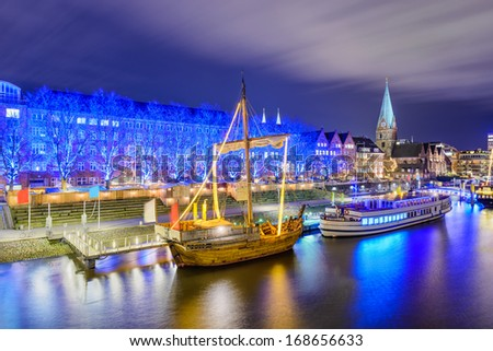 Christmas market illumination at the riverside in Bremen, Germany
