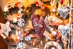 christmas market in Europe, decoration for sale in the shop