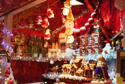 christmas market in France, cute snowman decoration and illumination
