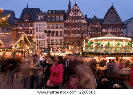 Christmas Market in Roma Platz, Frankfurt, Germany - stock photo