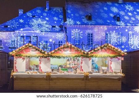 Christmas Market in Sibiu, Transylvania, Romania Imagine de stoc ©