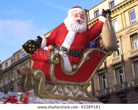 Christmas market in Stuttgart, with Santa Claus