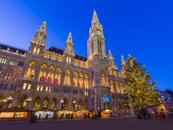 Christmas Market near City Hall in Vienna Austria - cityscape holiday background