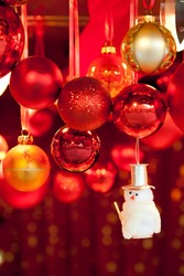 Christmas market store and balls