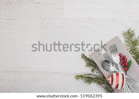 Christmas Meal Table Setting Background