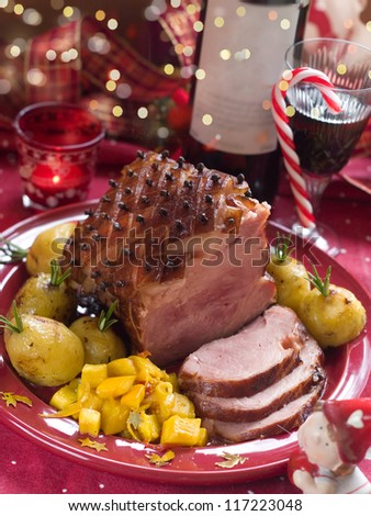 Christmas meat with potato for Holiday dinner, selective focus