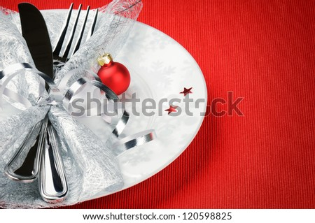 Christmas menu concept on red background with copyspace