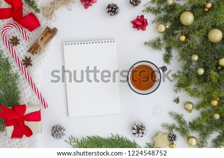 Christmas Mock up spiral notebook with blank white paper sheet. Top viewc reativity mockup for to do plans, ideas, art works and hand lettering compositions.Winter new year and christmas xmas Flat lay #1224548752