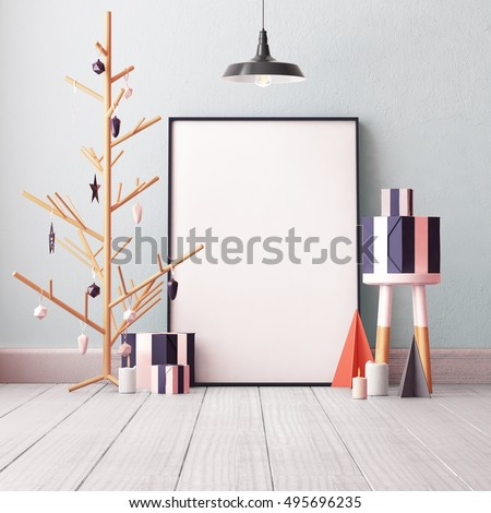 Christmas mockup poster in the interior.