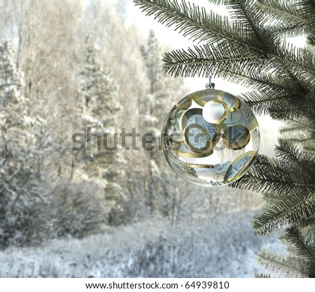 christmas money bauble with euro coins inside, hanging on the tree