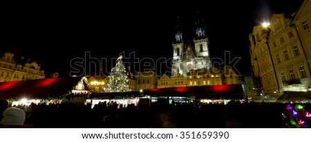 Christmas Mood on the night Old Town Square, Prague, Czech Republic