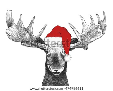 Christmas moose with santa claus hat, hand drawn holiday illustration