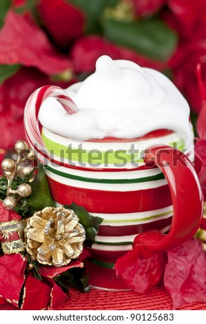Christmas mug with hot chocolate