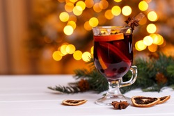 Christmas mulled wine. Traditional German Gluhwein with spices and fruits. Hot winter drink