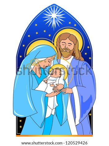christmas nativity. Baby Jesus, Mary and Joseph.