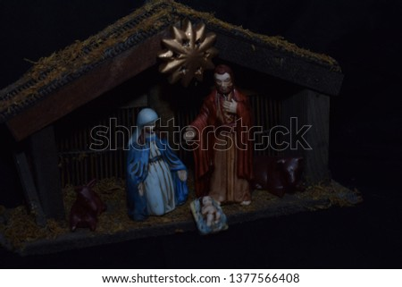 Christmas Nativity Red White